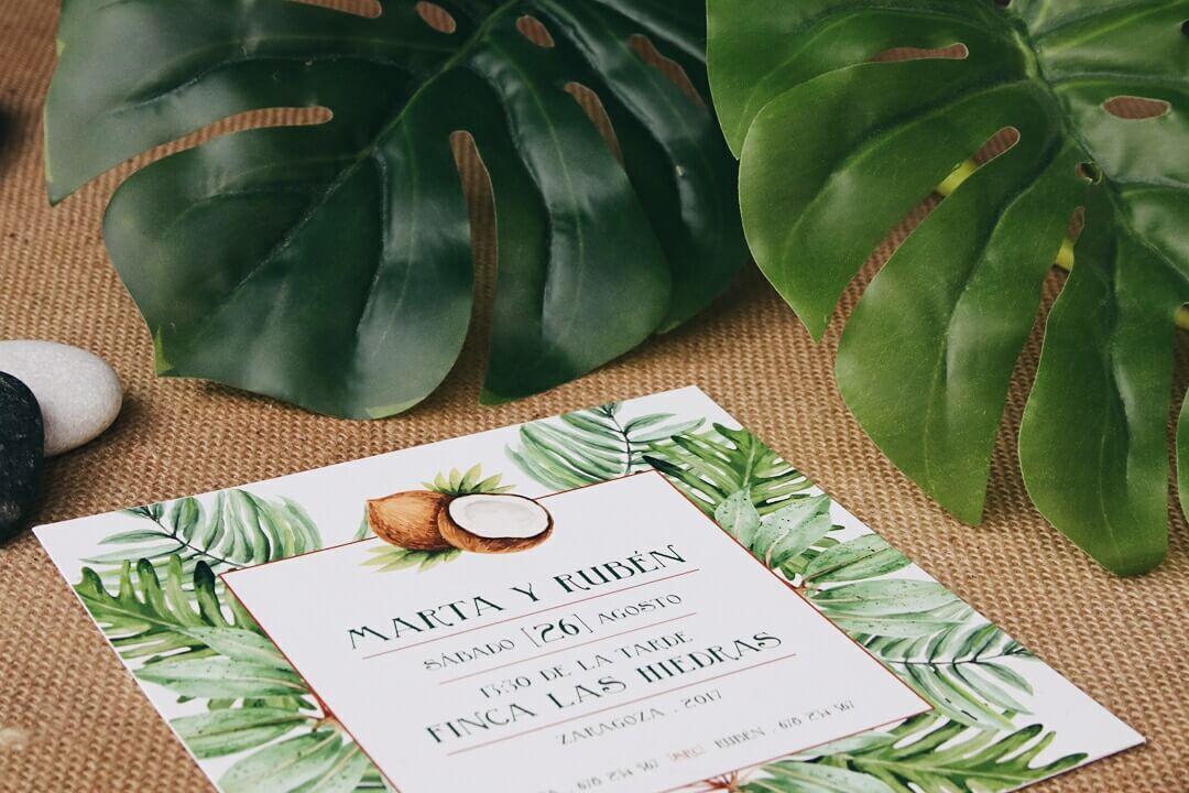 Invitación de boda tropical