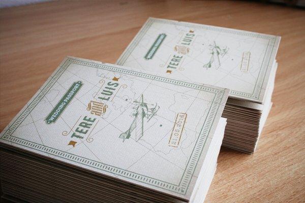 Invitación de boda viajera pasaporte