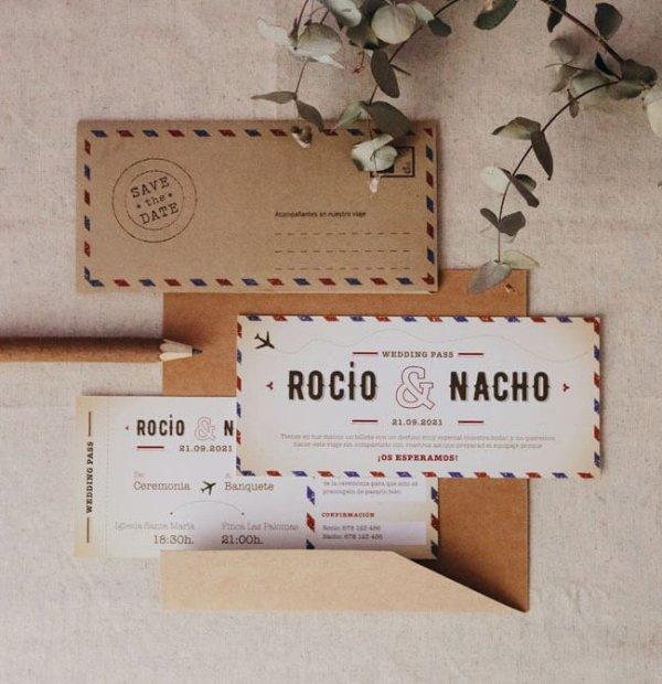 invitación de boda tarjeta de embarque viajera