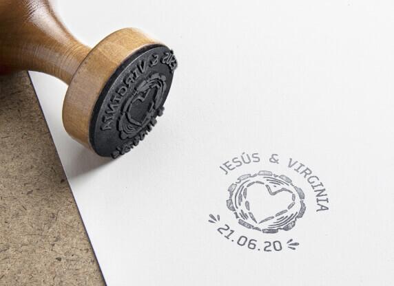 sello personalizado corazón árbol