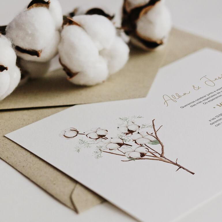 Invitación de boda algodón