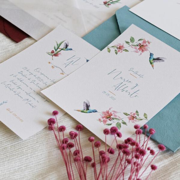 Invitación de boda colibrí
