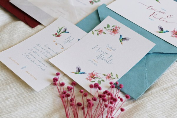 Invitación de boda campestre colibrí