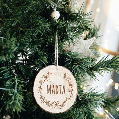 Rodaja de madera personalizada colgador corona Navidad
