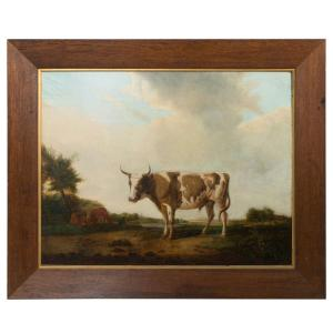 Oil on canvas of cow in landscape c.1800 Front View with Frame