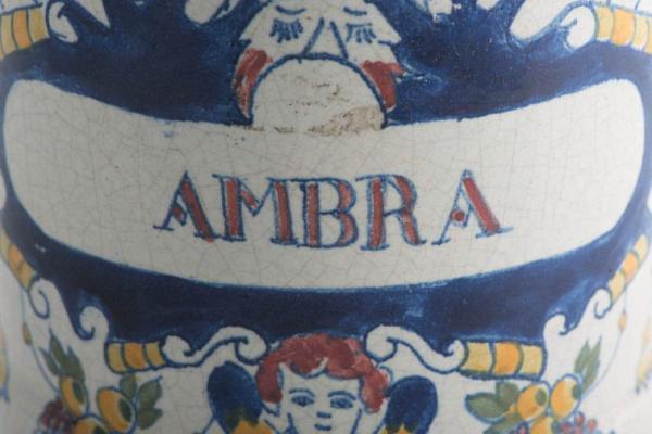 Decorated drug jar c.1780 Closeup AMBRA Logo