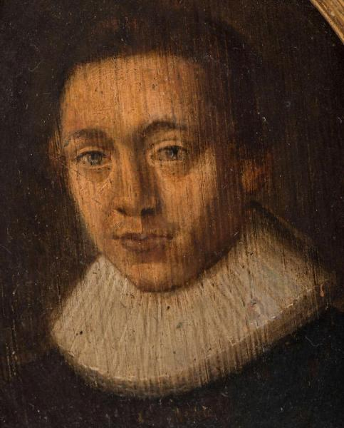 Oil on panel, Continental c.1620 Closeup Face