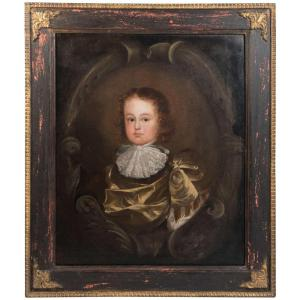 Oil on canvas of young boy, 17th century With Frame Front Facing