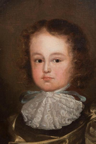 Oil on canvas of young boy, 17th century Closeup of Face