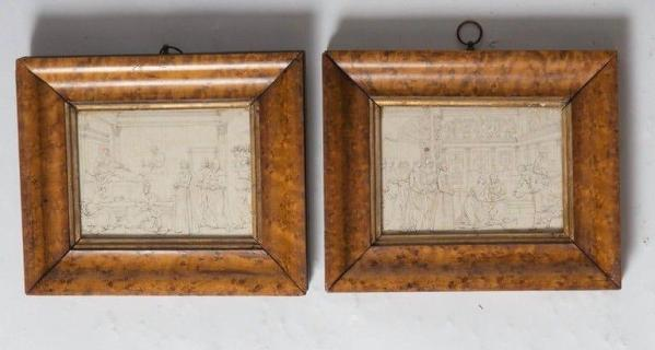 Pencil drawings from wall paintings Italy, c. 1800 with Frames