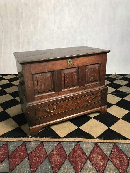 Welsh oak coffer 19th century Side