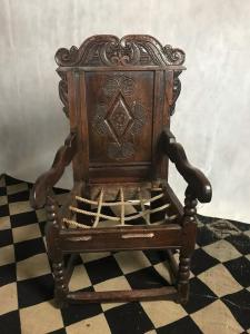 Antique Wainscot chair, English 17th century Front