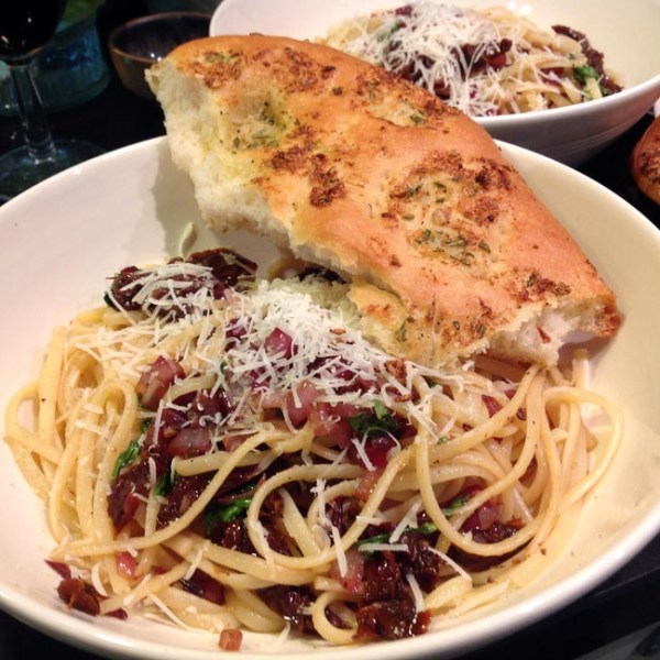 Spaghetti with Red Onions Sundried Tomatoes Balsamic
