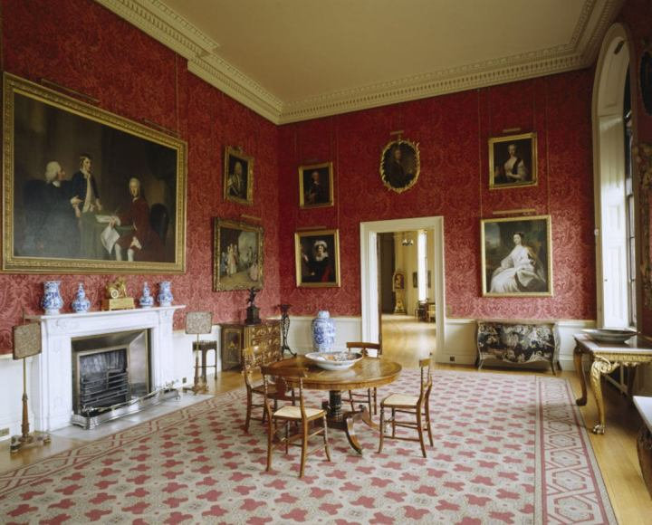 Room view of the Smoking Room at Ickworth, Suffolk with white marble chimneypiece