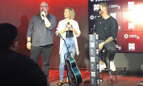 Brett Young with Nash FM 94.7 DJs Jesse Addy & Katie Neal