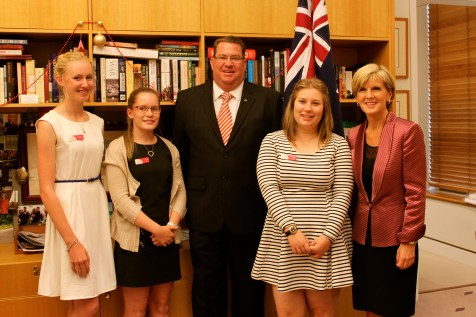 2014 Essay Comp winner Libby (second from left) was thrilled to meet her local MP, Scott Bucholz, and Foreign Minister JUlie Bishop.