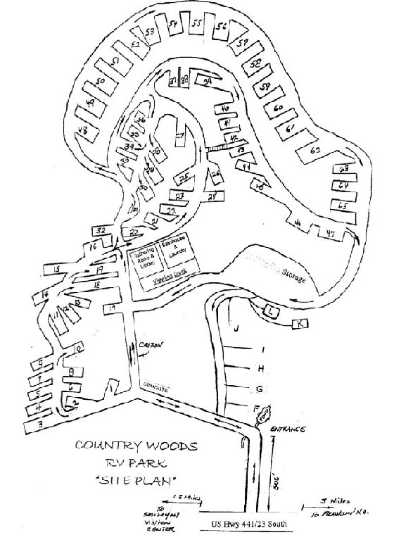 Camp Map for RV Rentals & Camping at Country Woods RV Park