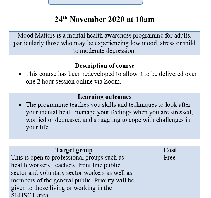 Training through South Eastern Health & Social Care Trust