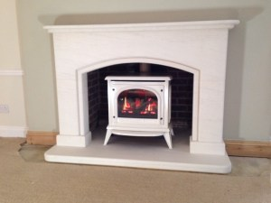 Hambrook limestone fireplace with Gazco Ashton gas stove
