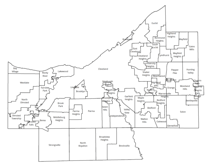 Map of Cuyahoga County communities