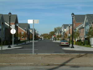 photo of a dense residential street
