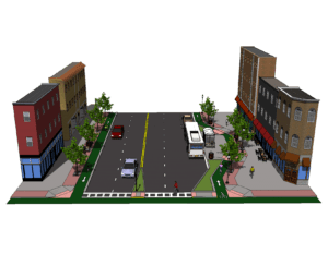 rendering of a complete street
