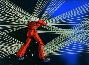 The Ideon firing laser beams in literally every direction.