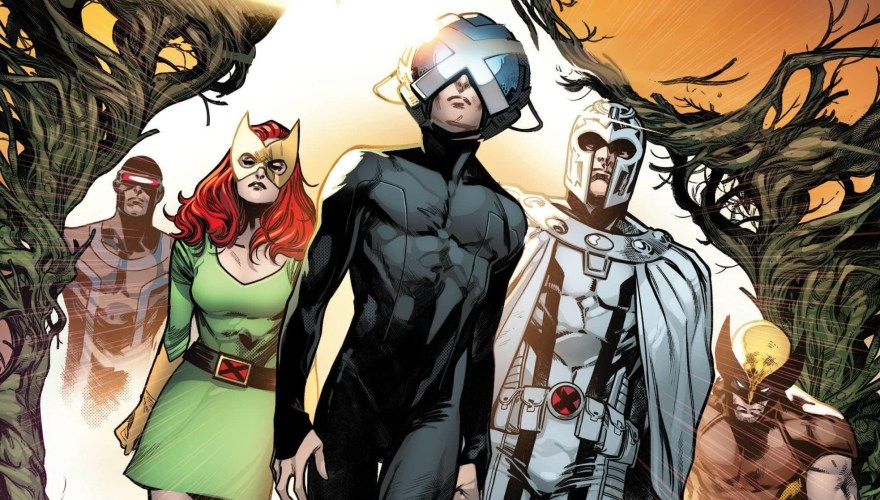 Excerpt from the cover of House of X #1, with Cyclops, Jean Grey, Magneto, Wolverine, and an unknown 5th X-Man