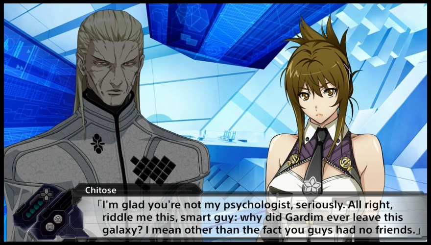 Chitose mocking the Gardim leader.