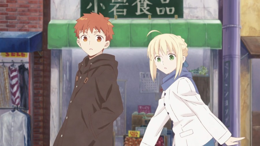 Shiro and Saber from the first episode of Emiya family.