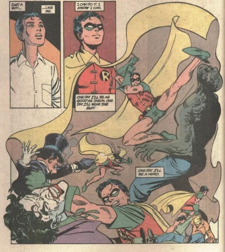 Tim Drake fantasizing about being Robin.