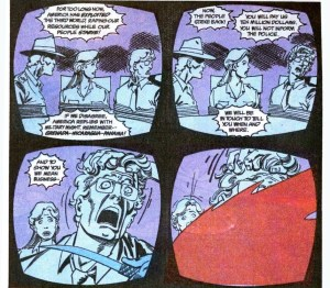 The hostage video in 4 comic panels.