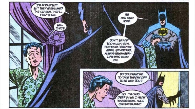 Batman comforts Tim Drake and offers to take the day off for him.