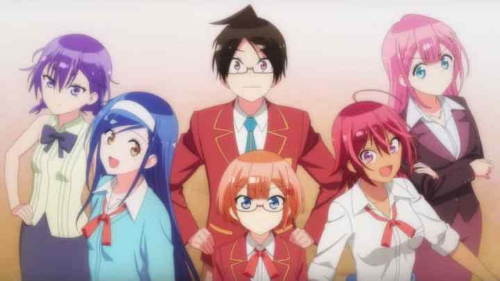 The main cast of We Never Learn - Yuuki and his romantic interests.
