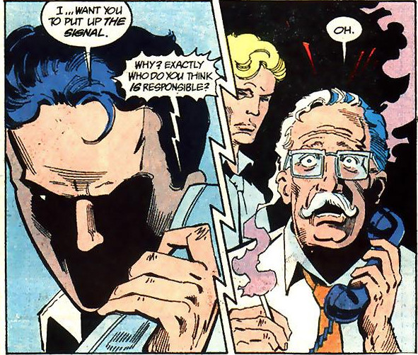 Tim Drake informs Commissioner Gordon of who is responsible.