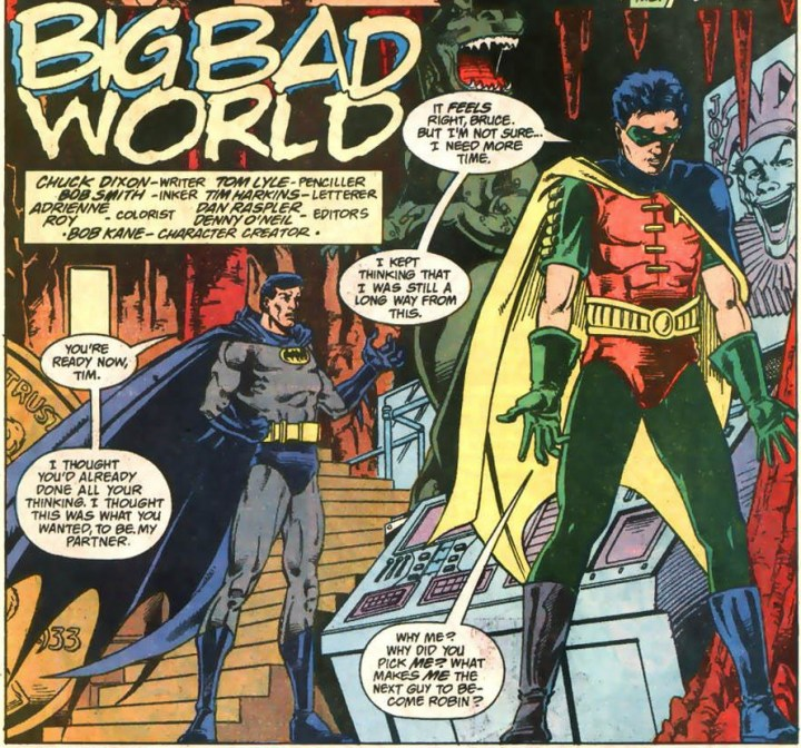 Robin and Batman talk about taking on the mantle.