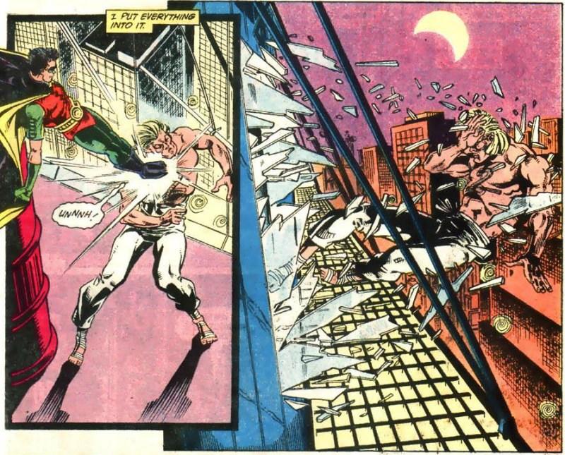 Robin kicks King Snake through a window.