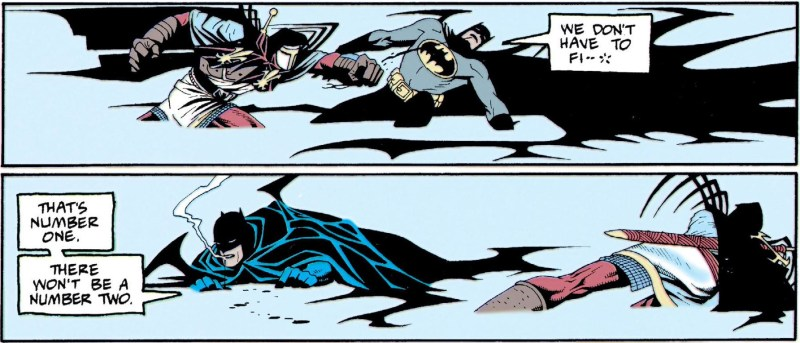 Batman tries to talk Azrael down from fighting but gets punched for his troubles.