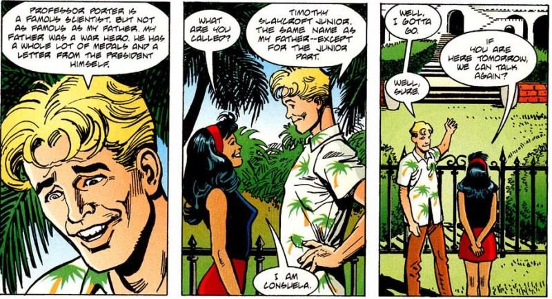 Junior and Consuela talk.