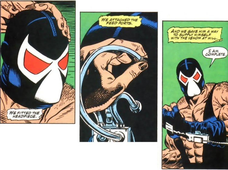 Bane dons his costume for the first time.