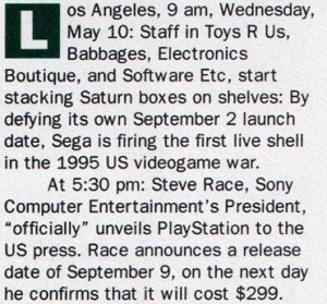 The times and dates of Sega's launch and Sony's price drop.