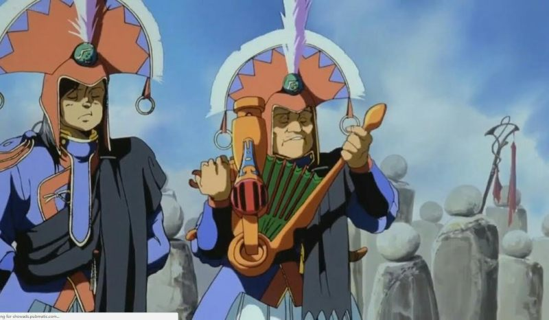 A character playing an instrument in the setting.