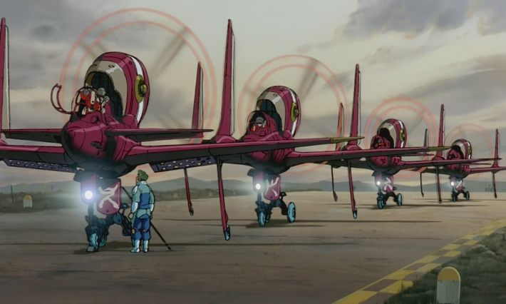 Aircraft with rear facing engines preparing for takeoff.
