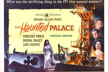 """Movie poster for The Haunted Palace depicting scenes from the film with the tagline """"What was the terrifying thing in the PIT that wanted women?"""""""