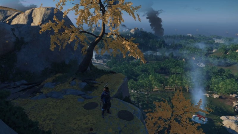 In Ghost of Tsushima, Jin Sakai looks out over the island