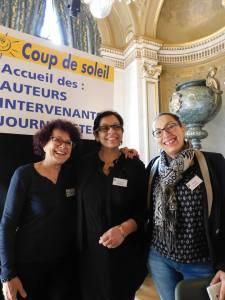 Micheline Kouas, Yasmina Houari et Nadia Zouala à l'accueil de l'entrée du Maghreb des livres