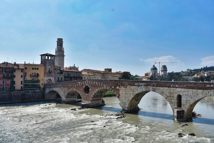 Ponte Pietra, Verona, Couple Coffee Joy