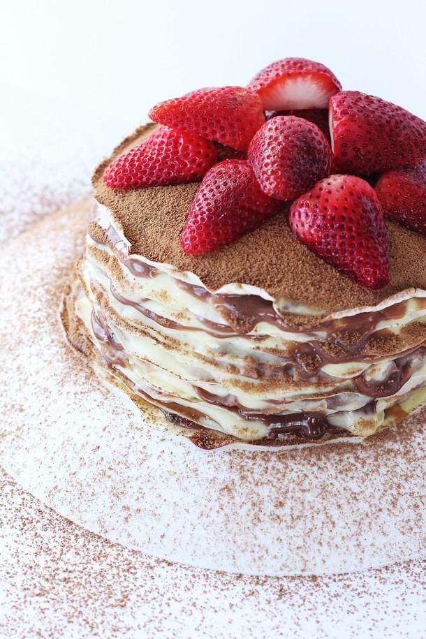 Nutella Custard Crepe Cake (Mille crepes) 2