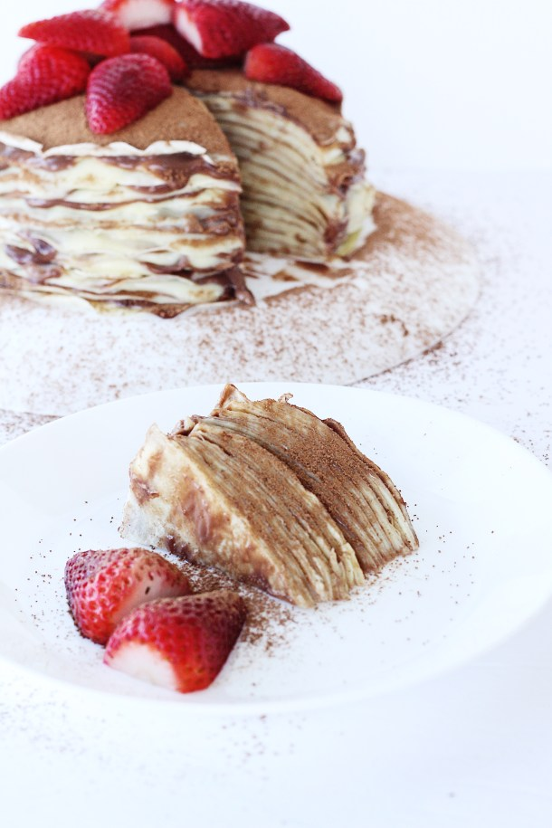 Nutella Custard Crepe Cake (Mille crepes) 3