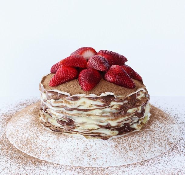 Nutella Custard Crepe Cake (Mille crepes)